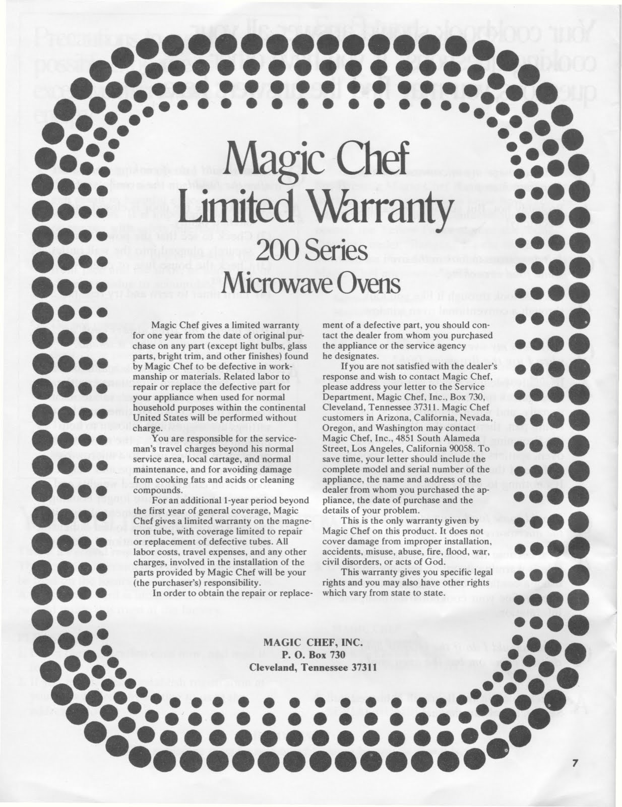 1983 Fleetwood Pace Arrow Owners Manuals: Magic Chef 200